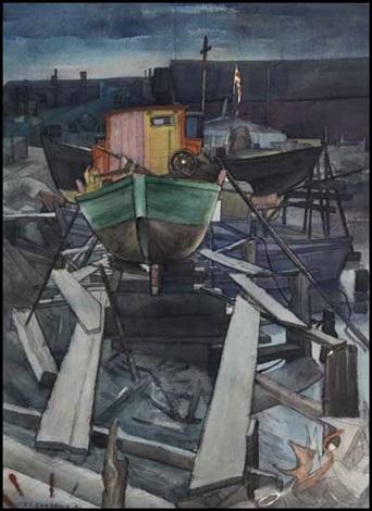 boats in the dusk coal harbour 2 by jack leonard shadbolt