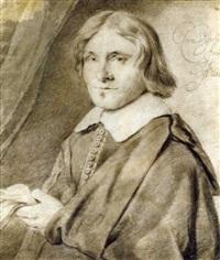 portrait d'homme en buste, tenant des gants by cornelis visscher