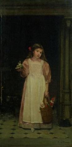 fillette au panier de jouets devant une cheminée by florent willems