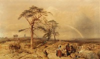 english landscape with figures in area of guilford by edward duncan