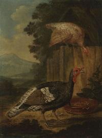 pendants: hühnerhof und truthähne (2 works) by marmaduke cradock