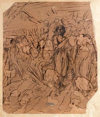 cavaliers et fantassins: étude pour la décoration de l'escalier de la cour des comptes (study) by théodore chassériau