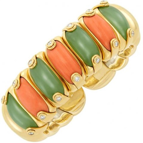 Milano Stainless Steel Ring.Gold Stainless Steel Coral And Nephrite Bangle Bracelet Milano