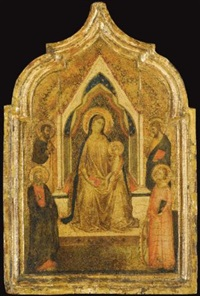 the madonna and child enthroned with saints (paul?), bartholomew, an evangelist (saint matthew?) and catherine of alexandria (left shutter of diptych) by bernardo daddi