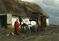 a post coach halting by a farm by simon ludvig ditlev simonsen