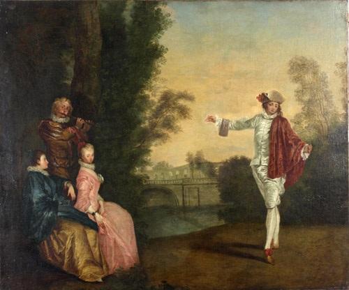 flötenspiel und tanz im park by jean antoine watteau