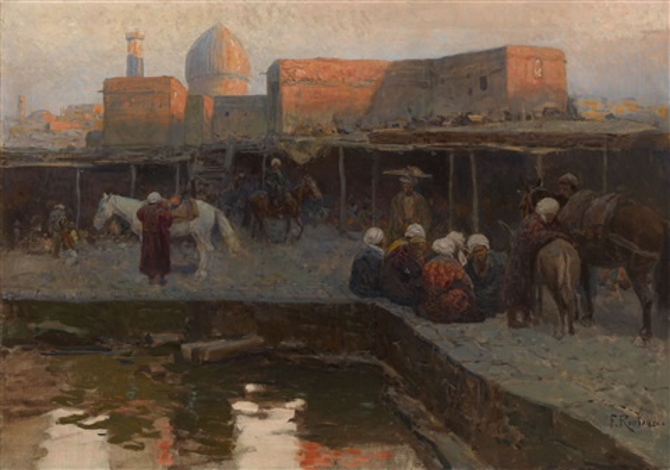 caravanserai by gur-e amir in samarkand by frants roubaud