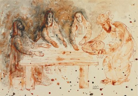 the three visitors to abraham araham and the angels by reuven rubin