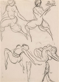 studies of dancing girls by john duncan fergusson