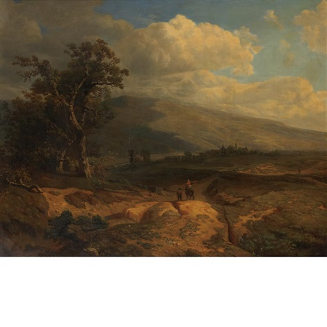 rider in an extensive landscape by johann bernard klombeck