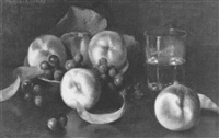 still life with peaches and grapes by thomas c. corner