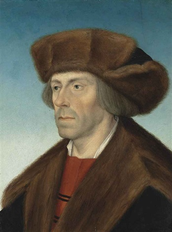 portrait of a gentleman bust length in a fur hat and a fur trimmed coat by hans maler