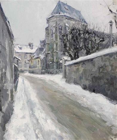 a snowy street in meudon by maria vasilevna jakunchikova