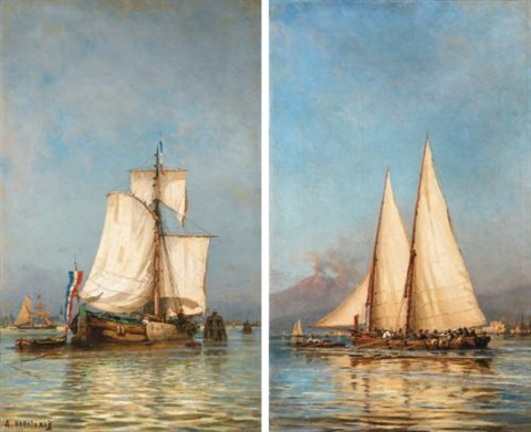 a pair of sailing boats holland and naples by aleksei petrovich bogolyubov