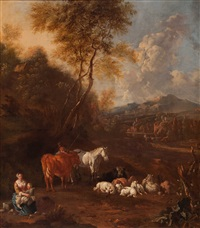 shepherds and their flock in an italianised landscape by johannes van der bent