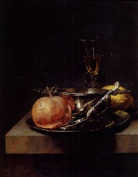 a still life of a silver brandy cup, a silver spoon and an orange on a pewter plate, a wineglass and a lemon on a table by cornelis kick