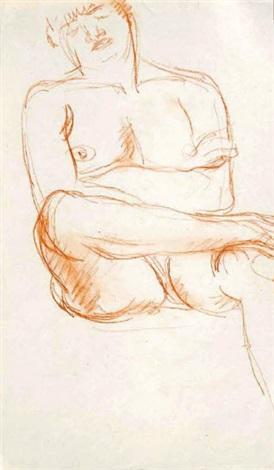 nu féminin assis endormi la jambe droite posée sur la cuisse gauche les bras croisés by charles despiau