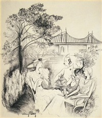 women relaxing in new york city garden (illus. for new yorker) by mary petty