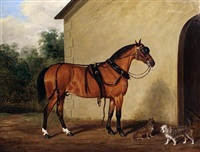 a carriage horse with two terriers in a yard by james (of bath) loder