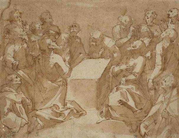 une assemblée de saints et apôtres regardant vers le ciel by valerio castello