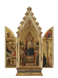 the madonna and child enthroned with twelve saints, god the father above (triptych) by master of san lucchese
