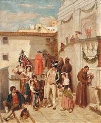 reges leben vor der mit blumen geschmückten kirche by raffaelo armenise
