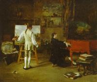the artist's studio by lucien alphonse gros