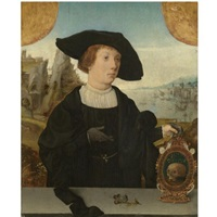 portrait of a young man, behind a ledge, with a landscape beyond, in a black hat, holding a memento mori by jan (joannes sinapius) mostaert