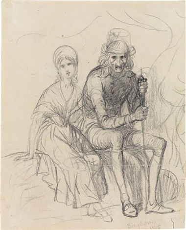 two seated figures recto figure study verso by george caleb bingham