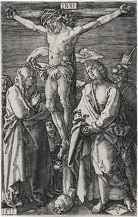 christ on the cross; and peasant couple at market; (2 works) (from the engraved passion) by albrecht dürer
