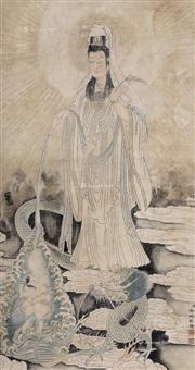 乘龙观音像 镜片 设色绢本 (dragon guanyin figure) by leng mei