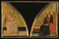 the angel of the annunciation; the virgin annunciate by master of san jacopo a mucciana