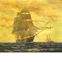 ships at sea by hjalmar amundsen