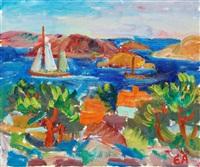 kustmotiv med segelbåt by erling ärlingsson