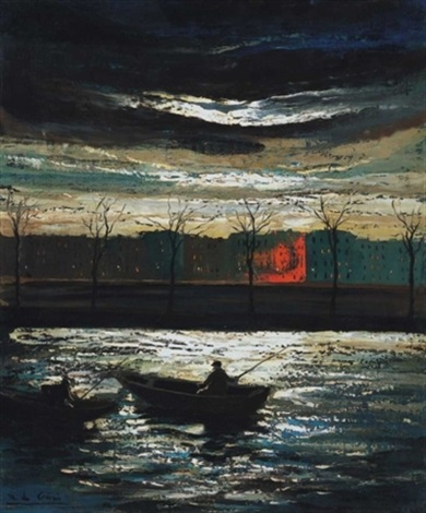 holdfényes vízpart szajna part riverbank in moonlight by marguerite de corini