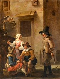 four figures conversing in the courtyard of a by johannes van der bent