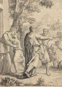 isaac prenant congé de sa mère avant son départ pour le sacrifice by michel corneille the younger