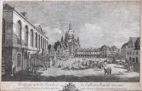 perspective de la façade de la galerie royale avec une partie de l'église notre-dame by bernardo bellotto