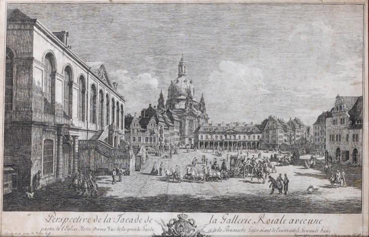 perspective de la façade de la galerie royale avec une partie de léglise notre dame by bernardo bellotto