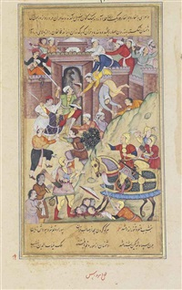 timur's army attacks the fortress of herat and ghiyath al-din, the kartid ruler, sues for peace (from the zafarnama) by dharm das