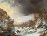 a cascading stream through snow-covered mountains by frederick a. butman