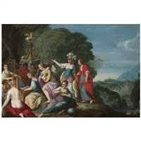 minerva and the nine muses by johann (hans) konig