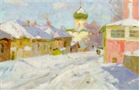 figures in a winter street scene by mikhail sergeevich ageev