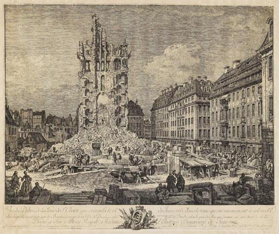 die trümmer der ehemaligen kreuzkirche in dresden vue de débris de la tour de ste croix by bernardo bellotto