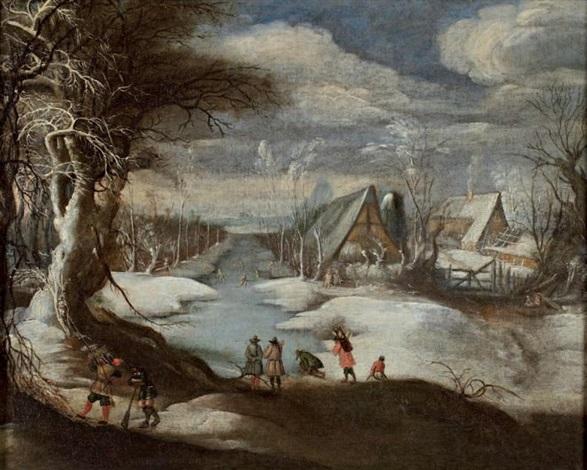 scène dhiver avec un chasseur by daniel van heil