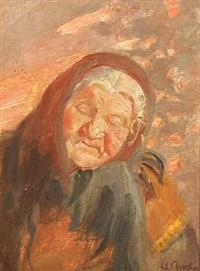 portrait of an elderly woman by anna kirstine ancher