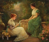 two girls in a garden by stanley leighton