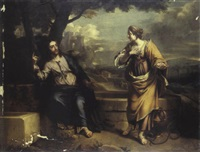 le christ et la samaritaine au puits by nicolas colombel