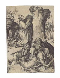 the agony in the garden, from: the passion of christ by martin schongauer