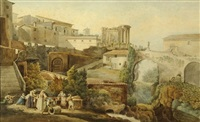 le village et le temple de la sybille à tivoli (+ les cascatelles de tivoli; 2 works) by joseph-sebastien constantin